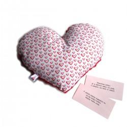 Levandulové srdce červenobílé - polštář