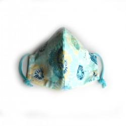 Textilní rouška modrozelené květy