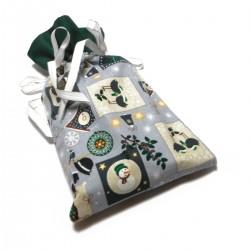 Vánoční pytlíček šedo-zelený
