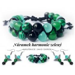 Sada náramku harmonie a náušnic - zelená